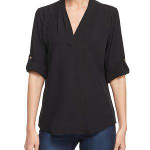 Calvin Klein Black 3/4 Sleeve V-Neck Blouse